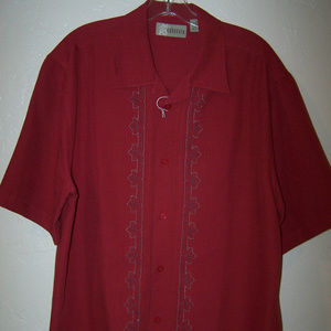 CUBAVERA RED EMBROIDERED CASUAL SHIRT S3106